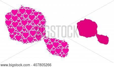 Love Mosaic And Solid Map Of Tahiti Island. Mosaic Map Of Tahiti Island Is Created From Pink Love He