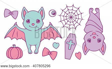 Cute Cartoon Vector Collection Set With Pastel Colored Halloween Bats, Spiderweb, Pumpkin, Coffin, H