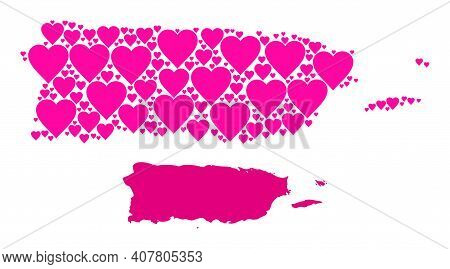 Love Collage And Solid Map Of Puerto Rico. Collage Map Of Puerto Rico Is Formed With Pink Lovely Hea