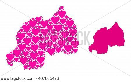 Love Collage And Solid Map Of Rwanda. Collage Map Of Rwanda Is Formed With Pink Lovely Hearts. Vecto