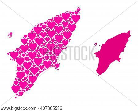 Love Collage And Solid Map Of Rhodes Island. Collage Map Of Rhodes Island Designed With Pink Valenti