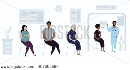 Patients Diverse People In Doctors Waiting Room Vector Illustration. Cartoon Flat Pregnant Woman, Bl