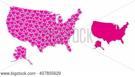 Love Mosaic And Solid Map Of Usa And Alaska. Collage Map Of Usa And Alaska Designed With Pink Valent