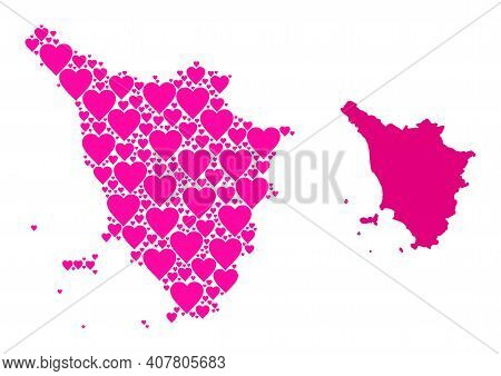 Love Mosaic And Solid Map Of Tuscany Region. Mosaic Map Of Tuscany Region Is Designed With Pink Love