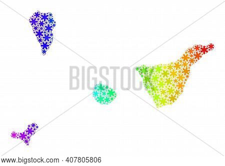 Rainbow Gradient Composition Of Santa Cruz De Tenerife Province Map Done For Christmas Sales. Santa