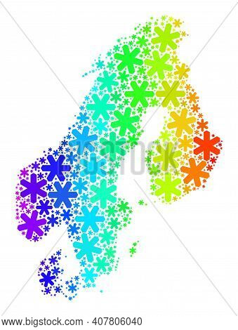 Bright Gradient Mosaic Of Scandinavia Map Created For Christmas Sales. Scandinavia Map Mosaic Is Org