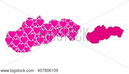 Love Pattern And Solid Map Of Slovakia. Collage Map Of Slovakia Composed With Pink Love Hearts. Vect