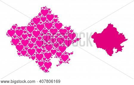 Love Mosaic And Solid Map Of Rajasthan State. Mosaic Map Of Rajasthan State Formed With Pink Valenti