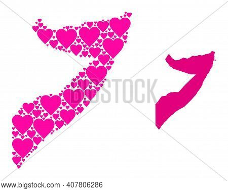 Love Collage And Solid Map Of Somalia. Collage Map Of Somalia Is Formed With Pink Love Hearts. Vecto