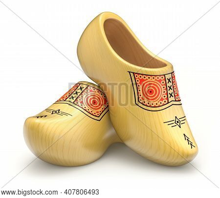 Traditional Yellow Dutch Wooden Shoes - 3d Illustration