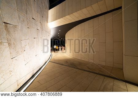Land Improvement. Accomplishment Of Territories Near Houses. The Passage Is Lit, The Walls Are Tiled