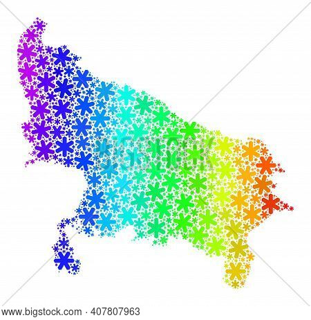 Spectral Gradient Collage Of Uttar Pradesh State Map Designed For New Year Holidays. Uttar Pradesh S