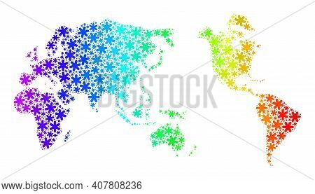 Bright Gradient Composition Of Worldwide Map Done For New Year Celebration. Worldwide Map Mosaic Is