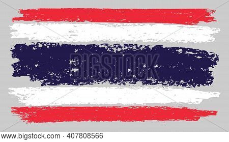 Thailand Flag Chalk Illustration With Charcoal Effect. Vector Freehand Thailand Flag In Official Col