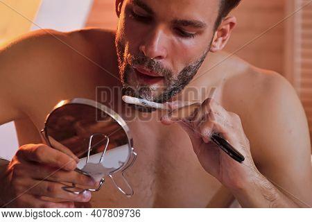 Gay With Shaving Soap On Beard Hair Look In Mirror. Shaving, Barber, Barbershop. Hygiene, Health. Be