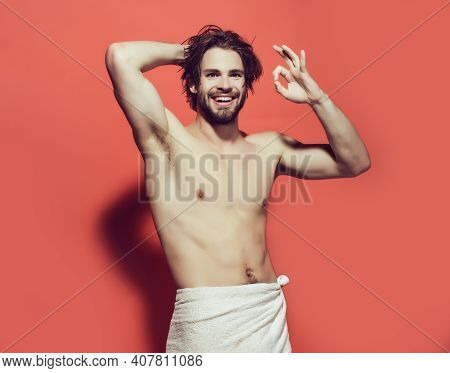 Morning Wakeup Of Happy Naked Man In White Towel On Red Background Showing Ok Gesture