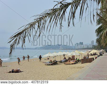 Vietnam, Nha Trang - March 29, 2018: Nha Trang City (vietnam) Central Beach And View At City Against