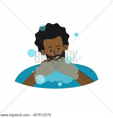 Vector Flat Isolated Illustration. African American Man Feels  Compulsions To Washing Hand Often. He