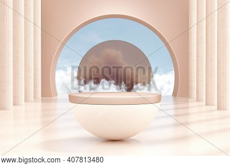 Abstract Minimal Scene With Product Podium And Clouds. Podium 3d Rendering Minimal Background With P