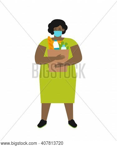 Vector Flat Illustration With Body Positive Woman. She Stands With Paper Bag For Food. Chubby Africa