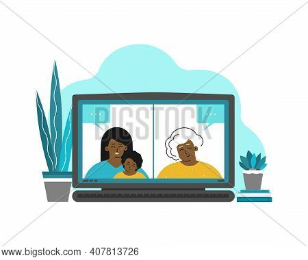 Vector Isolated Flat Illustration With Laptop Screenshot. Senior African American Grandmother And He