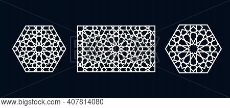 Set Of Templates Of Islamic Pattern For Laser Cutting Or Paper Cut. Vector Illustration.