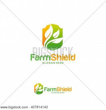 Farm Shield Logo Designs Concept Vector, Nature Shield Logo Template Symbol, Ecology Protect Logo