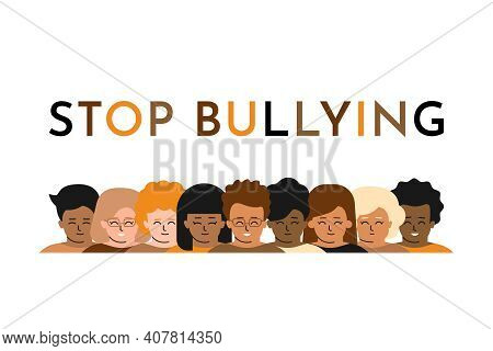 Vector Isolated Flat Illustration. Multiethnic Group Of Children Is Smiling. They Show Tolerance And