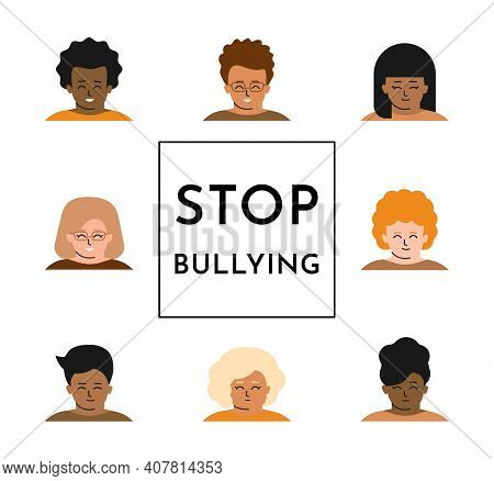 Vector Isolated Flat Concept. Text In Center - Stop Bullying. Set Of Children Portraits Is Around Fr