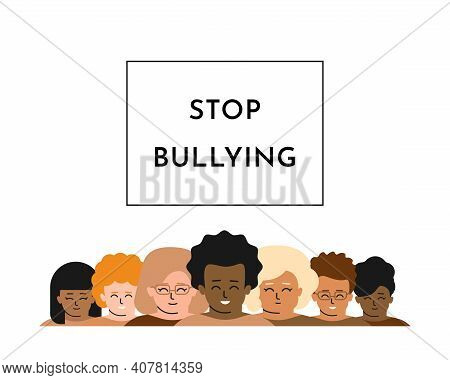 Vector Isolated Flat Concept. Text In Frame - Stop Bullying. Multiethnic Group Of Children Stand In