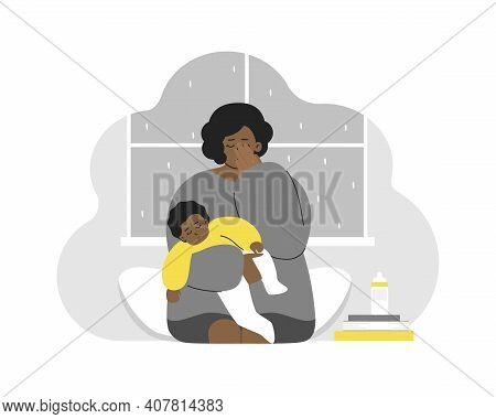 Vector Flat Concept. Problem Of Maternity - How To Keep Calm And Mental Health. Tired African Americ