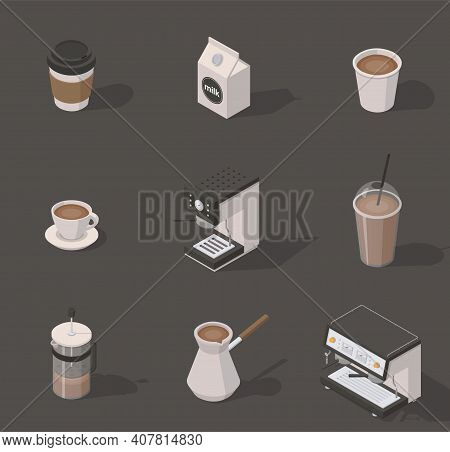 Vector Isometric Coffee Shop Set. Includes Opened And Closed Paper Cups, Milk Box, Coffee Machine, T