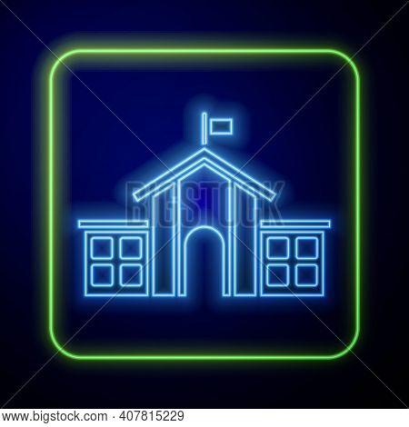 Glowing Neon United States Capitol Congress Icon Isolated On Blue Background. Washington Dc, Usa. Ve