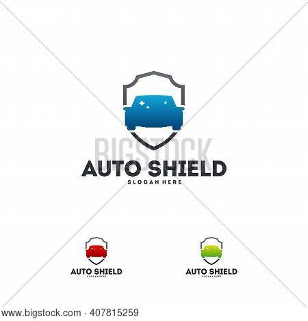Automotive Shield Logo Designs Concept Vector, Car Protect Logo Template