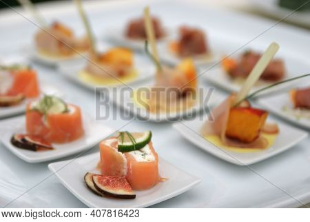 Different Types Of Finger Food For Appetizer.