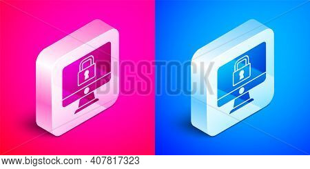 Isometric Lock On Computer Monitor Screen Icon Isolated On Pink And Blue Background. Security, Safet