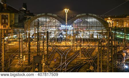 Prague, Czech Republic - April 16, 2019: Prague Main Railway Station By Night. The Largest Passenger