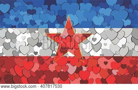 Yugoslavia Flag Made Of Hearts Background - Illustration,  Abstract Mosaic Flag Of Yugoslavia