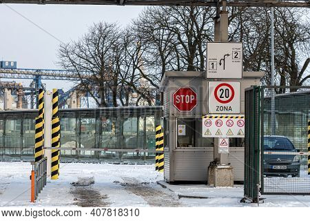Ventspils, Latvia, February 5, 2021: Ferry Passenger Port Gate, Car Customs Checkpoint