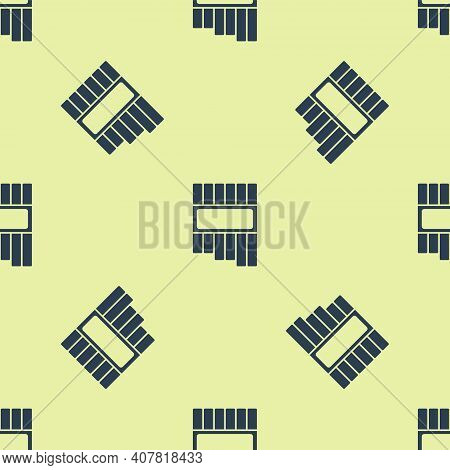 Blue Pan Flute Icon Isolated Seamless Pattern On Yellow Background. Traditional Peruvian Musical Ins