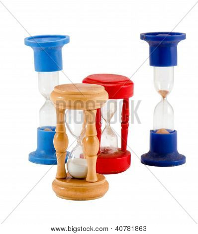 Different Sand Glass Clocks Timers Isolated White