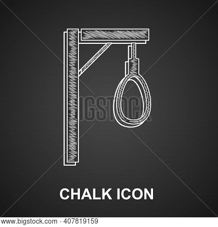 Chalk Gallows Rope Loop Hanging Icon Isolated On Black Background. Rope Tied Into Noose. Suicide, Ha
