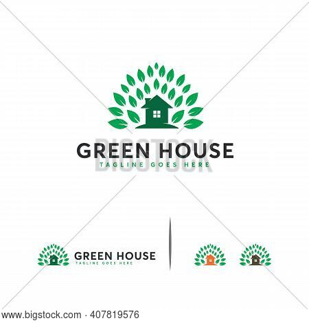 Green House Logo Designs Concept Vector, House Logo With Leaf Designs