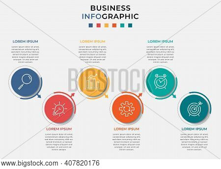 Business Infographic Design Template Vector With Icons And 6 Six Options Or Steps. Can Be Used For P