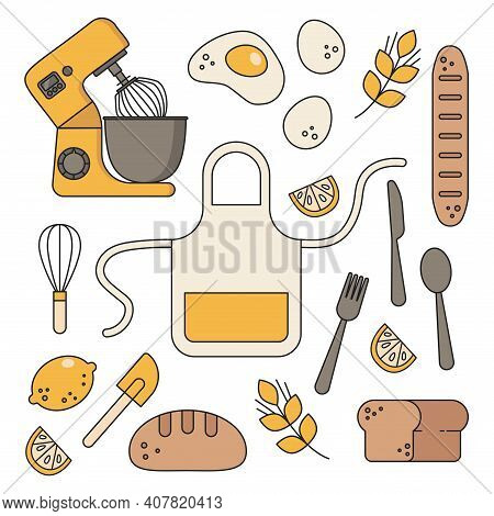 Sticker For Cafe. Home Cooking, At Home, Mixer, Hobbies, Eggs, Bread, Dough, Whisk, Lemon, Canteen A