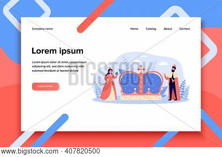 Tiny King And Queen Near Big Crown Isolated Flat Vector Illustration. Cartoon Royal Characters As A