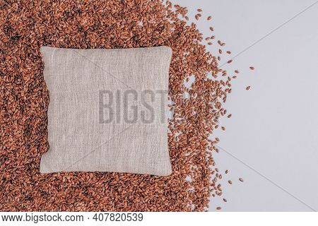 Flax Seeds Filled Pillow For Spa Massage - Natural Heat Or Cool Pack. Alternative Medicine And Thera