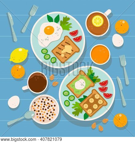 Concept Vector Breakfast With Food And Drinks. Tasty Hotel Breakfast With Coffee, Tea With Lemon, Or