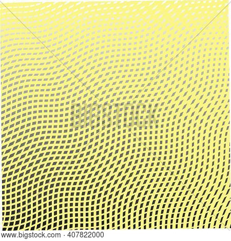 Yellow Trendy Grid Monochrome Texture From Wavy Cross Lines. Wavy Reticulated Effect Texture For Web