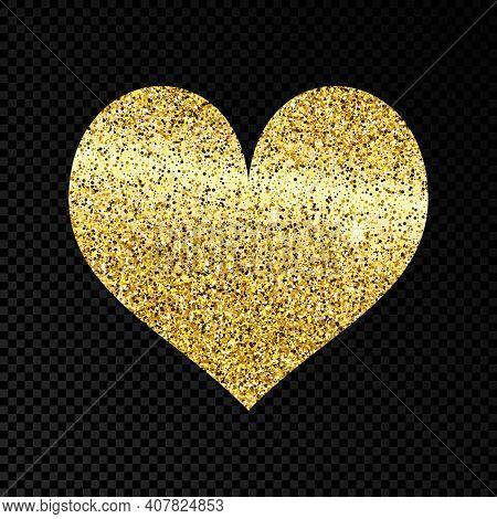 Gold Glittering Heart On Dark Transparent Background. Background With Gold Sparkles And Glitter Effe